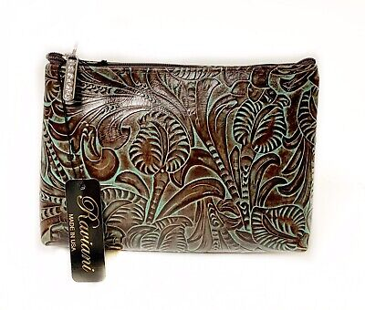 Bag Western Tooled Leather - Raviani Cosmetic Bag in Brown & TQ Western Tooled Floral Leather MADE IN USA