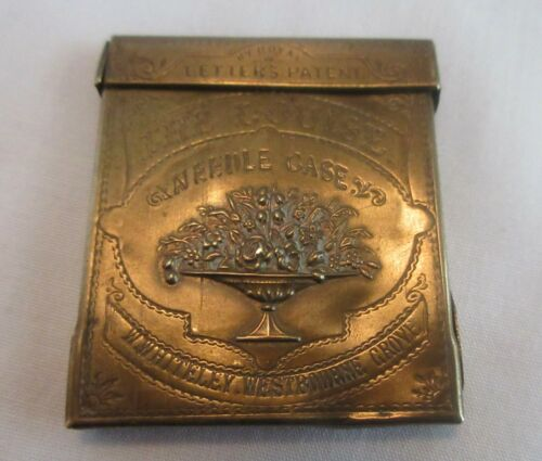 "antique,WHITELEY,""THE LOUISE"",BRASS NEEDLE CASE,Avery Patent,STUNNING!"