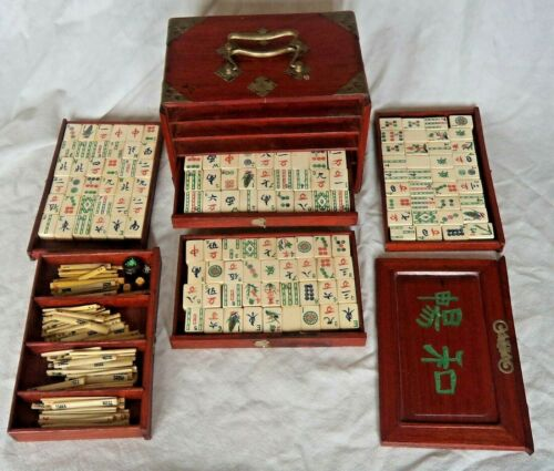 FINE CHINESE REPUBLIC c1920 CASED MAHJONG SET