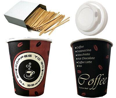 Kaffeebecher Pappbecher 0,2l/0,3l Coffee to Go Becher Hartpapier,Deckel,Stäbchen Becher Deckel