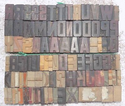 84 Piece Vintage Letterpress Wood Wooden Type Printing Blocks 33 M.m.bc-5008