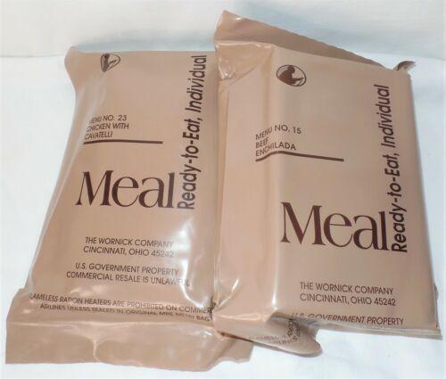 (2) MRE U.S. MILITARY MEALS Beef Enchilada / Chicken Cavatelli
