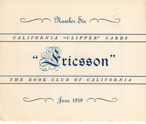 "California ""Clipper"" Cards by The Book Club of California - A Complete Set"