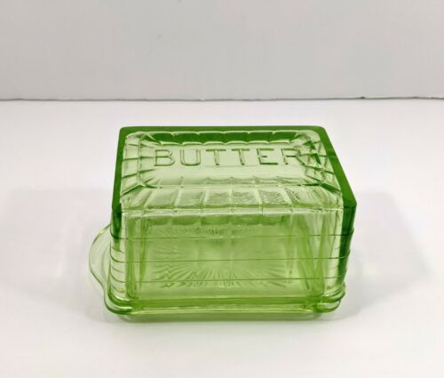 Green Depression Glass Block Optic Butter Dish With Lid