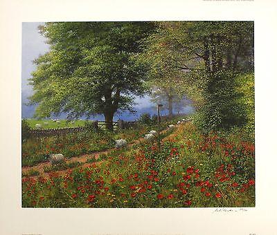 "BARBARA STEWART ""Harmony in Blue"" flowers SGD LTD ED! SIZE:72cm x 69cm NEW RARE"
