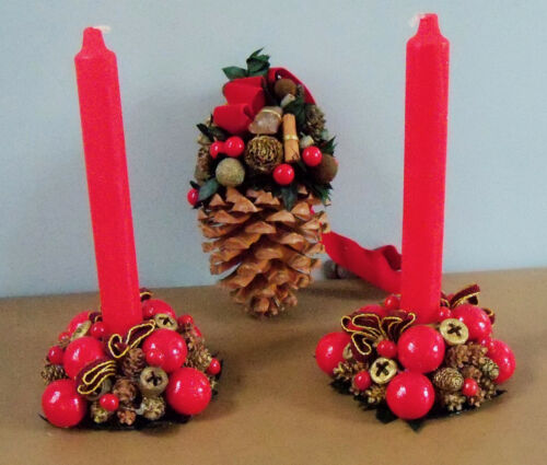 2 Pine Cone/Red Berry Christmas Wreath Candle Holder & Hanging Pine Cone Germany