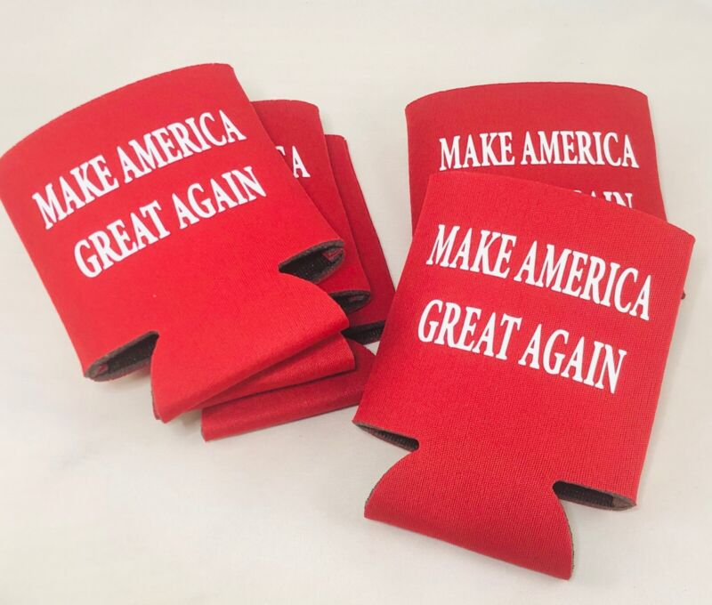 TRUMP 2020 MAKE AMERICA GREAT AGAIN KooZies Lot 5 Red Can Cooler Coozie