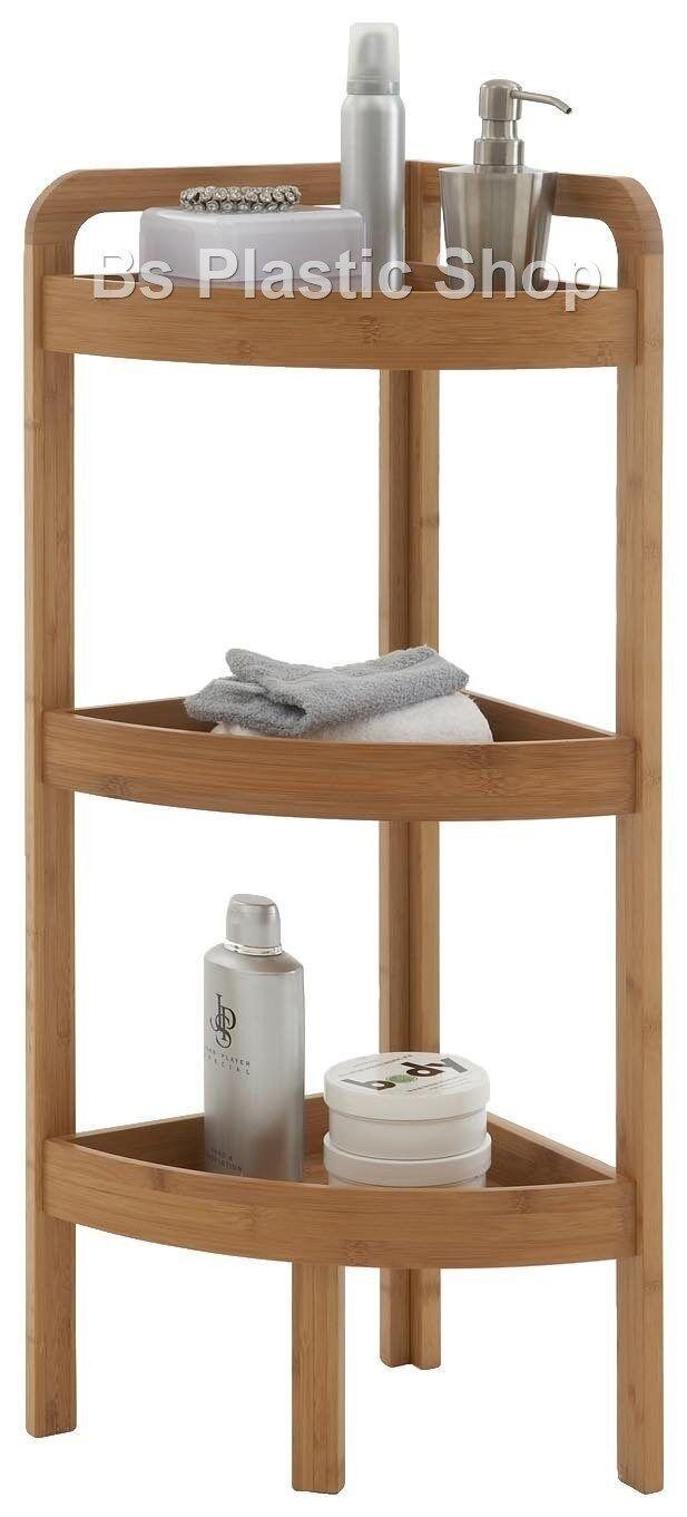 wooden corner shelf 3 tier bamboo storage unit bathroom living room shelves rack. Black Bedroom Furniture Sets. Home Design Ideas