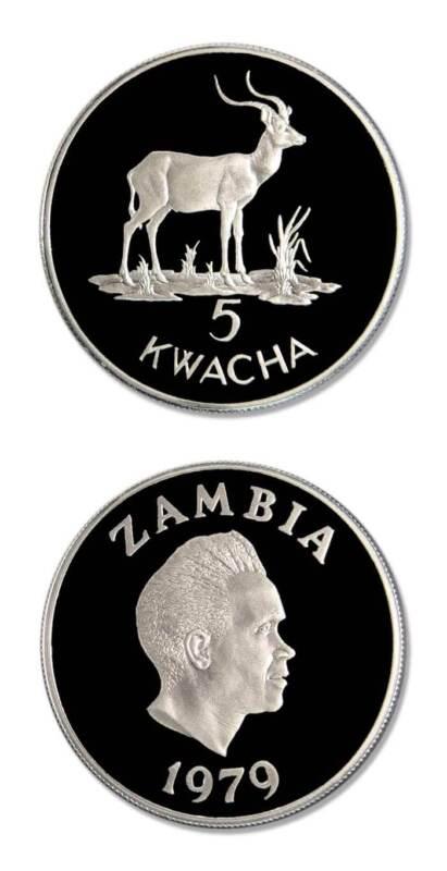 WWF Zambia Kafue Lechwe 5 Kwacha 1979 Proof Silver Crown