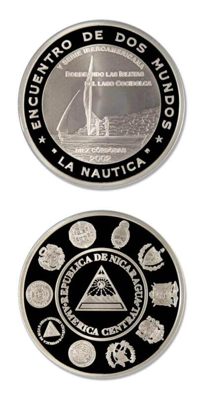 Nicaragua Encuentro De Dos Mundos Ten Cordobas 2002 Proof Silver Crown