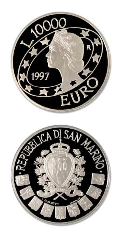 San Marino Libertas 10,000 Lire 1997 Proof Silver Crown
