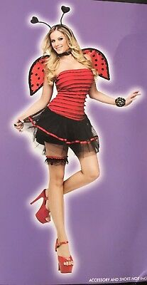 Ladybug Lady Bug Womens Sexy Medium sz 10 12 14 Halloween Costume 4 PC Cosplay ](Halloween Bugs Costumes)