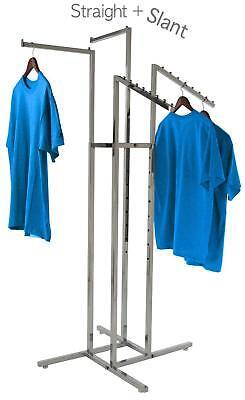 Clothing Rack 4 Way Slant Straight Arms Chrome Clothes Adjustable Garment Retail ()