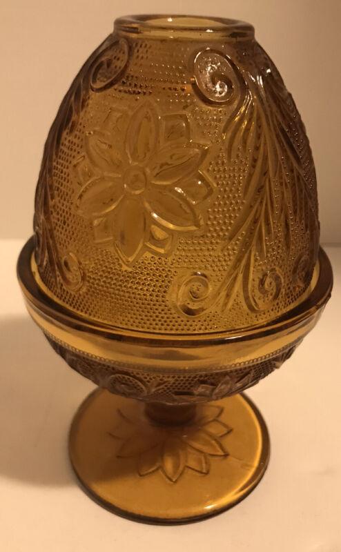 Tiara Indiana Glass Amber Sandwich Pattern Fairy Lamp Votive Candle Holder