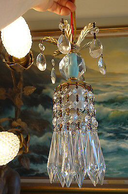 Vintage crystal ICY baby Blue Brass Tole SWAG plug lamp chandelier glass prism
