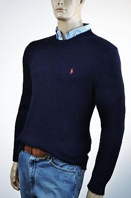 Ralph Lauren Navy Blue High Twist Crewneck Cotton Sweater Red Pony-NWT