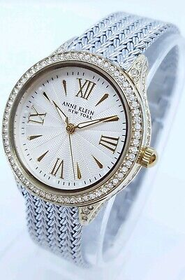 Anne Klein New York 12/2291SVTT Women's 35mm Gold+Silver Tone Mesh Watch