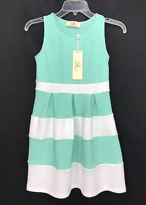 NWT Grace Karin Girls Sleeveless Size 10/11 Year Old White Green Dress (11 Year Olds)