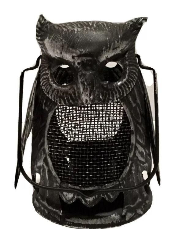 Vintage 1940s Halloween Tin Owl Lantern Double Sided Original Unused Hong Kong