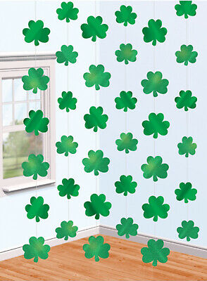 rock Party Decorations - Shiny Hanging Shamrock Strings x 6 (St Patricks Day Party)
