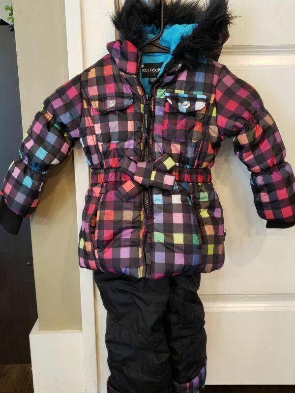 Girls Rothschild Toddler Winter Snow Parka Plaid 2T Pants Hood Pockets Fur USA