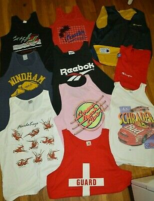 10 VINTAGE Tank Top Tshirt Lot Bud Racing Champion Reebok Florida Keys IMP Print (Champion T-shirt Tank Top)