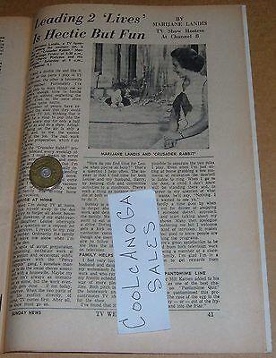 1959 Tv Article Marijane Landis Wgal Hostess Crusader Rabbit Percy Platypus
