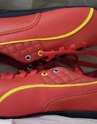 Puma Ferrari Mens Shoes Size 10 AUTHENTIC Red With Yellow Light Weight From USA