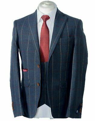 HERREN Marineblau Karo Tweed Anzug Lagerverkauf - 3 Stück für - Schnäppchen