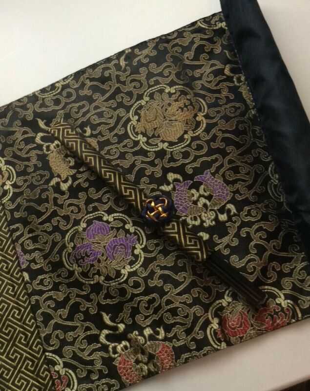 Asian Chinese Black Blue Purple Yellow Red Gold Fish Placemat with Chopsticks