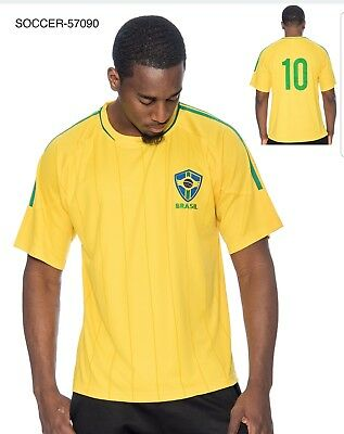 Brasil Brazil Mens Soccer Yellow With Stripes Jersey Wc 2018 Copa Mundo