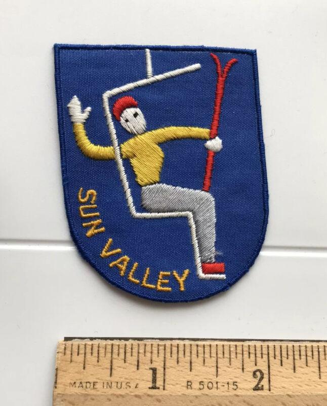 Sun Valley Ski Resort Idaho Skiing Waving Skier on Lift Embroidered Patch Badge