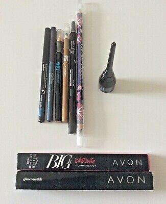 8 brand new Avon Cosmetics eyeliner pencils plus 1 brand new clear eyeliner wand