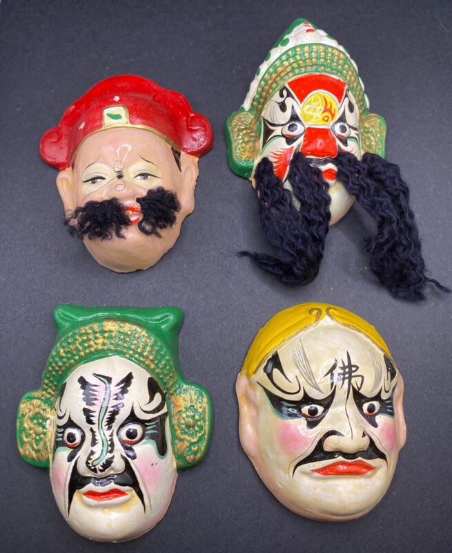 VINTAGE 4 Small Hand painted KABUKI CLAY ORIENTAL MASKS HIGHLY DETAILED W/ Box