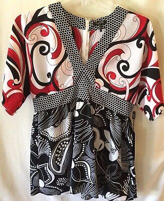Daisy Fuentes Blouse Size Petite Large V Neck Poppy Black White Geometric Print for sale  Shipping to Canada