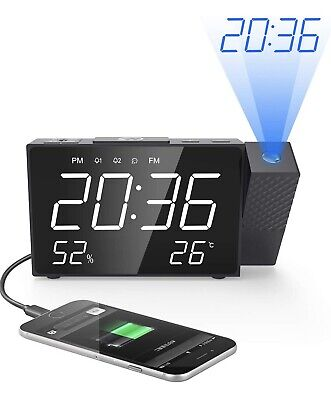 Projection Alarm Clocks Clock, Digital FM Radio 6.3-inch Large LED Dimmable With
