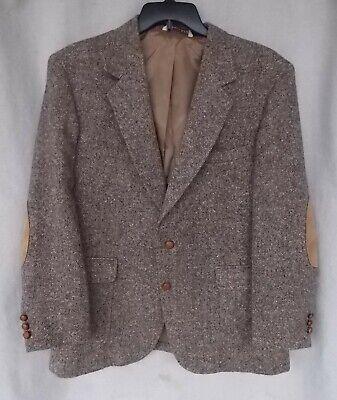 Vintage Brown Tweed Man in Wool Jacket Elbow Patches Size 44R Harris Tweed Style