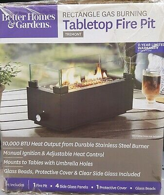 BETTER HOMES AND GARDEN PORTABLE TABLE TOP GAS PROPANE RECTANGULAR FIRE (Best Fire Pit Table)