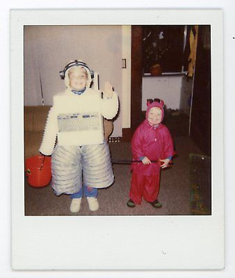 Kid in awesome homemade robot Halloween costume  .  Vintage Polaroid color photo - Kid Homemade Halloween Costumes