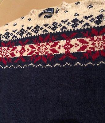 POLO Ralph Lauren Hand Knit 100% Wool Sweater SNOWFLAKE Ski Holiday WARM WInter