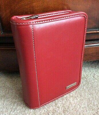 Pocket Red Genuine Leather Franklin Covey 1 Rings Zip Planner Binder Organizer