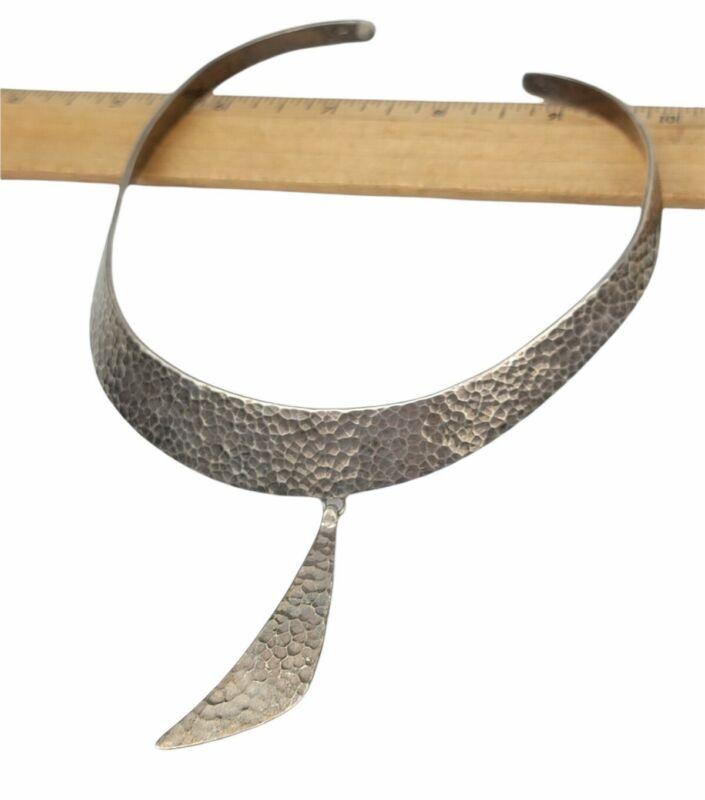 Vintage Sterling 925 Signed JVC Mexico Hammered Collar Modernist Necklace 57g