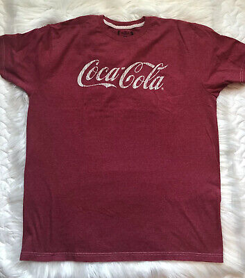 Coca Cola Logo Red Heather Cream Font Men's Graphic T-Shirt Size XL Extra Large