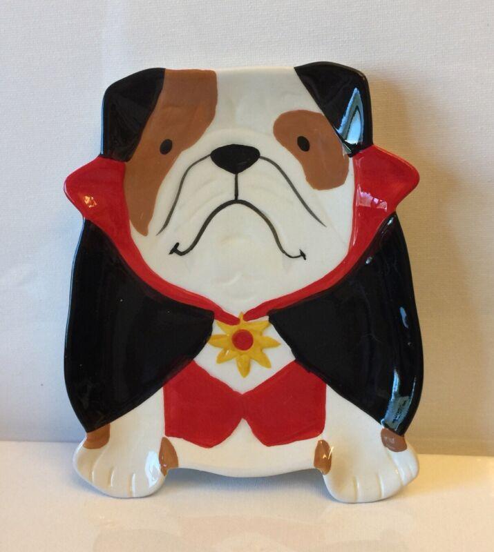 English Bulldog In Costume Ceramic Trinket Dish