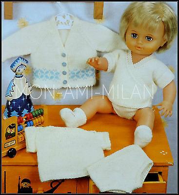 Dolls Clothes Knitting Pattern Copy, Vest Pants Socks Tiny Tears 12-22 Prem Baby
