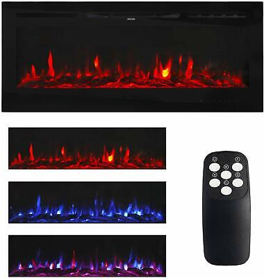 Large Electric Fireplace Wall Mount Home Heater Flame Log with Remote -