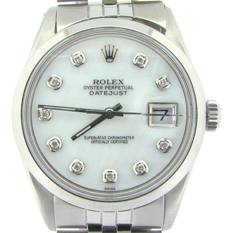 Rolex Datejust Mens Stainless Steel Jubilee Watch Domed White Mop Diamond Dial