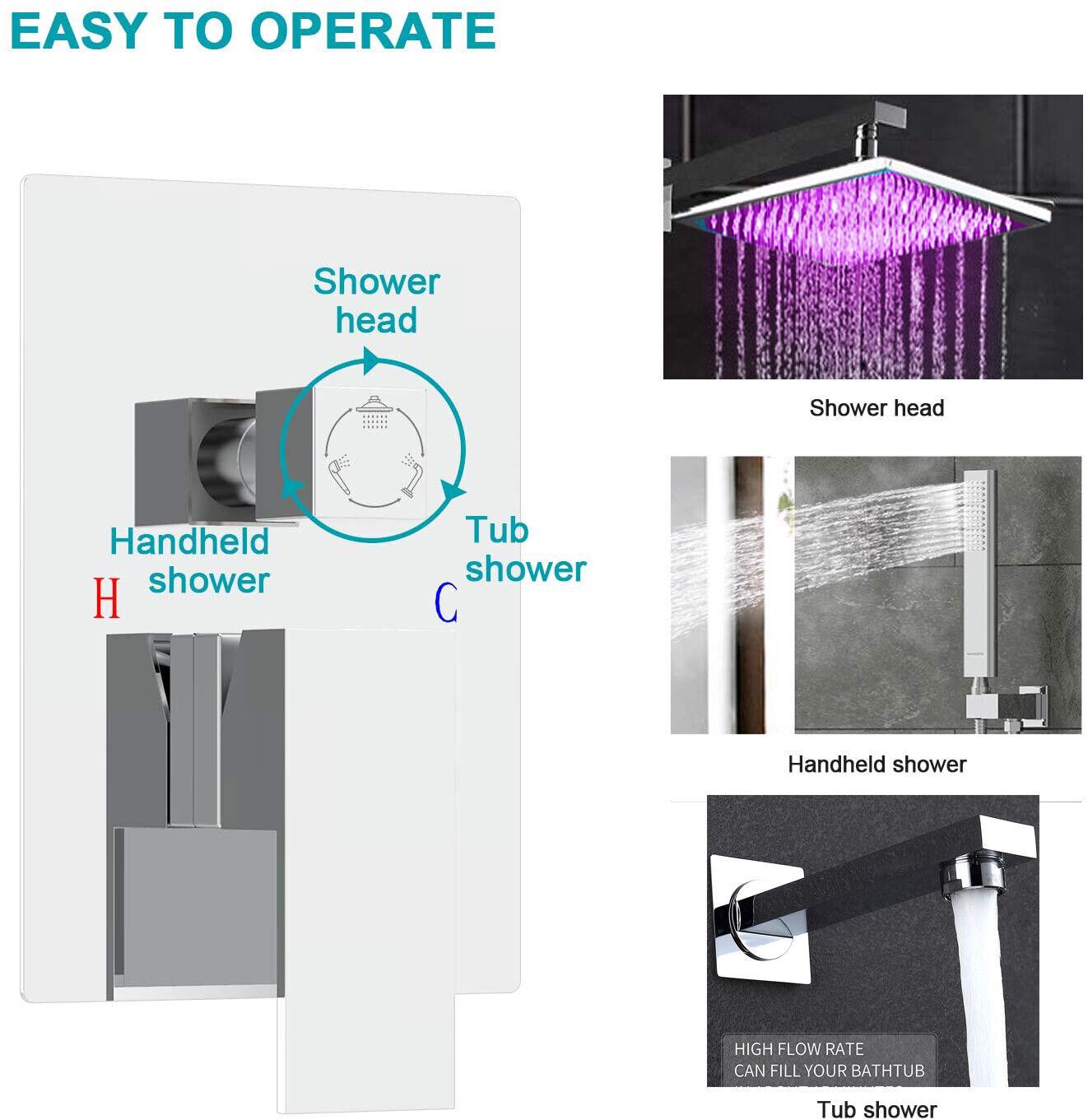 Shower Faucet Set 8 LED Rainfall Head Combo Kit Tub Filler Mixer Valve Chrome - $85.99