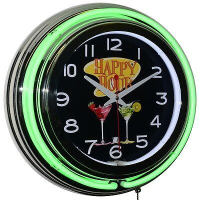 "Happy Hour! 15"" Green Double Neon Clock Bar Pub Diner Man Cave Decor"