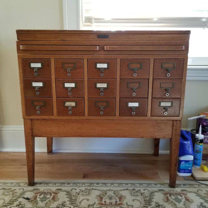 vintage card catalog cabinet